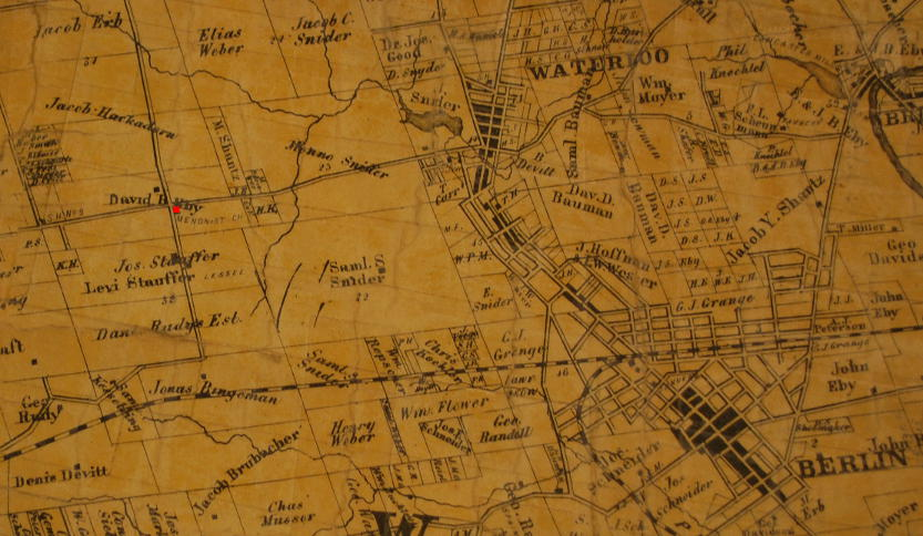 Part of Tremaine's Map of Waterloo, Canada West, 1861.  Shown in red is the forerunner of Erb Street Mennonite Church, the David Eby Meetinghouse at what is now the interection of Fisher-Hallman Road and Erb Street West.    Region of Waterloo Archives Collection.