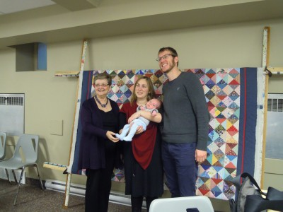 Our most recent child dedication and the nearing completion quilt for them.