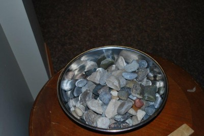Our service included everyone having a stone and exchanging them a few times during the service.